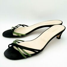 HOBBS Ladies Shoes Sandals Mules Size 6 39 Leather Suede Strappy Black Green
