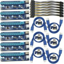 6PCS USB 3.0 PCI-E Express 1x To 16x GPU Extender Riser Card Adapter Power Cable