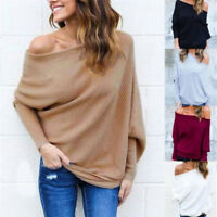Women Off Shoulder Sweaters Knit Shirt Long Sleeve Sweater Pullover Top