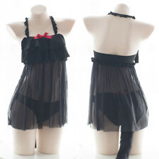 Sexy Lovely Black Cat Girl Mesh Ruffle Flip Cover Hollow Panty Tail Woman Suit