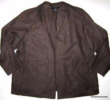 TALBOTS Woman PLUS 1X Brown 100% Irish LINEN Blazer Jacket Coat
