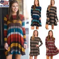 US Womens Long Sleeve Striped Mini Dress Ladies Casual Pocket Loose Swing Dress