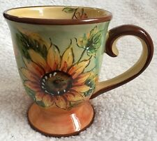 MAXCERA Terra Cotta Sunflower Footed Coffee Tea Mug 16 oz Tuscan Garden VGUC