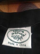 Laura Ashley Womens Button Front Linen Skirt Sz 10 Black Modest Flat Front VGUC!