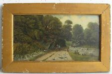 Antique Impressionist Pastoral Country Road Gate Painting Artist SIGNED E Hodson