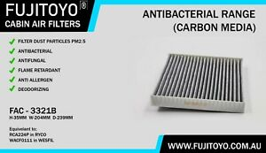 FUJITOYO CARBON Cabin Air Filter (WACF0111/RCA224P) FAC-3321B for HOLDEN/OPEL