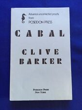 CABAL - UNCORRECTED PROOF OF FIRST AMERICAN EDITION SIGNED BY CLIVE BARKER