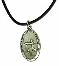 Leather Cord & Card Duet Mm2795-6 Womens St Christopher Softball Necklace 24""