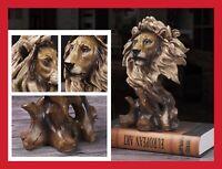 SCULPTURE BUSTE STATUE RÉSINE TÊTE DE LION 28cm COULEUR BOIS BRONZE ANIMALIER