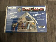 """Wee Crafts Wood Nativity Stable Kit #1252 Easy to Assemble 11"""" New Vintage"""