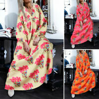 UK Women Long Sleeve Printed Casual Dresses Kaftan Maxi Dress Ladies Shirt Dress