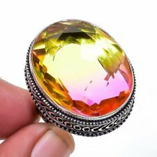 Bi-Color Tourmalinevintage 925 Sterling Silver Jewelry Ring s.9 T208279
