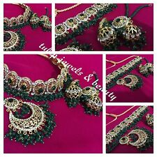 Indian / Pakistani  Hyderabadi Jewellery Choker Necklace Jhumkka & Tikka Set