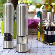 2 Kitchen Stainless Steel Electric Salt Pepper Spice Mill Grinder Muller Sliver