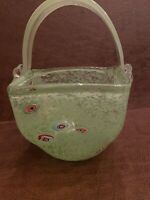 Large Murano Mottled Millefiori Green Glass Basket/Vase Handmade