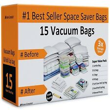 15 Vacuum Bags Space Saving Storage Bags for Clothes Jumbo Large Free Hand Pump