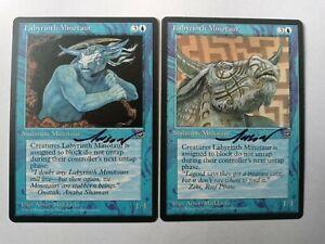 Labyrinth Minotaur X2 Homelands Ed Signed by Anson Maddocks Magic the Gathering