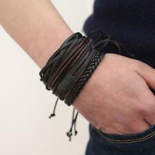 Adjustable Multi Row Leather Bracelet Braided Wrist Band Wristband Bangle Wrap