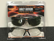 HARLEY DAVIDSON SAFETY GLASSES 2 PAIR SET CLEAR TINTED SPERIAN HD-1 NEW