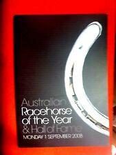 2008 AUSTRALIAN HORSE RACE OF THE YEAR /HALL FAME PROGRAMME MENU