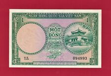 N 00006000 ew listing South-Vietnam (Unc-Banknote): One 1 Dong 1956 (P-1a) 1st Issue, Temple Boulevard
