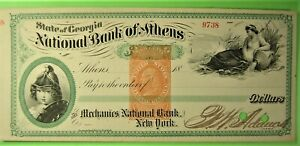 Beautiful American Banknote Co steel engraved bank draft with two stunning vigne