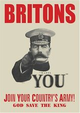 NEW LORD KITCHENER BRITISH RECRUITMENT A3 POSTER WORLD WAR 1 BRITONS WANTS YOU
