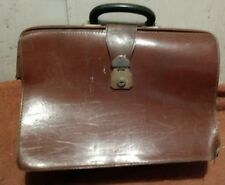 Vintage Tan Leather Men's Briefcase Doctor's Bag 1950s