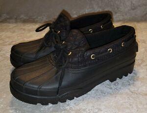 Sperry Women's Top-Sider Duck Rain Short Black Rubber Rain Boot Size 7.5