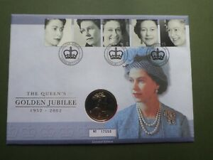 Queens Golden Jubilee   £5 Commemorative Coin in First Day Cover