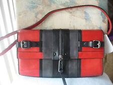 kenneth cole shoulder clutch,hanbag,tote,bag, black red leather