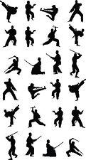 ARTI marziali / karate / KUNG FU ADESIVI Multi Pack x 24-NINJA-combattere SILHOUETTE