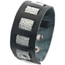 Old Glory Crinkle Woven Band Leather Wristband
