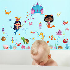 Mermaid Castle Room Home Decor Removable Wall Stickers Decals Decorations