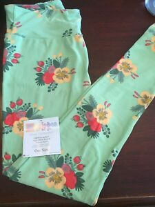 LuLaRoe Mint Floral OS Leggings