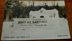 *RARE* VINTAGE RPPC ADV. MIKE'S ICE BAR, ADVERTISING BEER, OLD FORGE, N.Y.