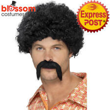W454 Black Disco 70s Dirt Bag Wig & Moustache Mens Afro Costume Accessories