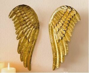 Golden Iron Angel Wings Pendant Christmas Decoration Home Hanging Wall Decor