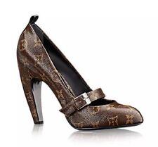 New LOUIS VUITTON LV Monogram Brown STAR POWER High Heel Pumps Shoes 37.5 US 7.5