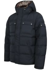 Mens Celio Quilted Puffer Jacket Luxury Designer Navy Fur Collar RRP £119