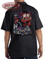 RED MONSTER Hot Rod Mechanics DICKIES Work Shirt ~ Cartoon Rat Rod ~ Muscle Car