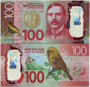 NEW ZEALAND 100 DOLLARS 2015 / 2016 POLYMER MOHUA BIRD P 195 UNC