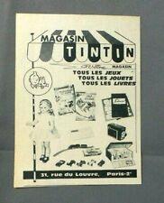 PUB PUBLICITE ANCIENNE ADVERT CLIPPING 280419 MAGASIN TINTIN LES JEUX JOUETS LIV