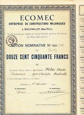 ECOMEC-Entreprise de Constructions mecaniquesaction v.1924 - Bischwiller-Bas-Rhin