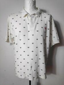 Men's Genuine Fred Perry White Pique Polo Shirt Size XXL Rare Design Ska MOD