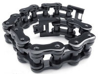 12.5MM Men's Chain Biker Motorcycle Black Silver Tone Stainless Steel Bracelet