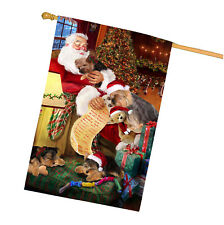 Yokshire Terrier Dog and Puppies Sleeping with Santa House Flag