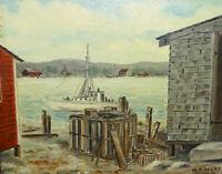 Old Maine Coast Wharf Harbor Seacoast Oil Painting O/B W.E.Mott 14.75 x 11.75