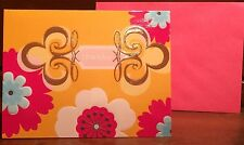 New Set of 12 Thank you cards Thanks Pink 5 x 4 Envelopes Floral Yellow Blue