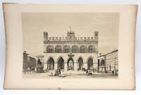 Palazzo Communalist Piacenza 1843 G. Moore Lithograph Architecture of Italy